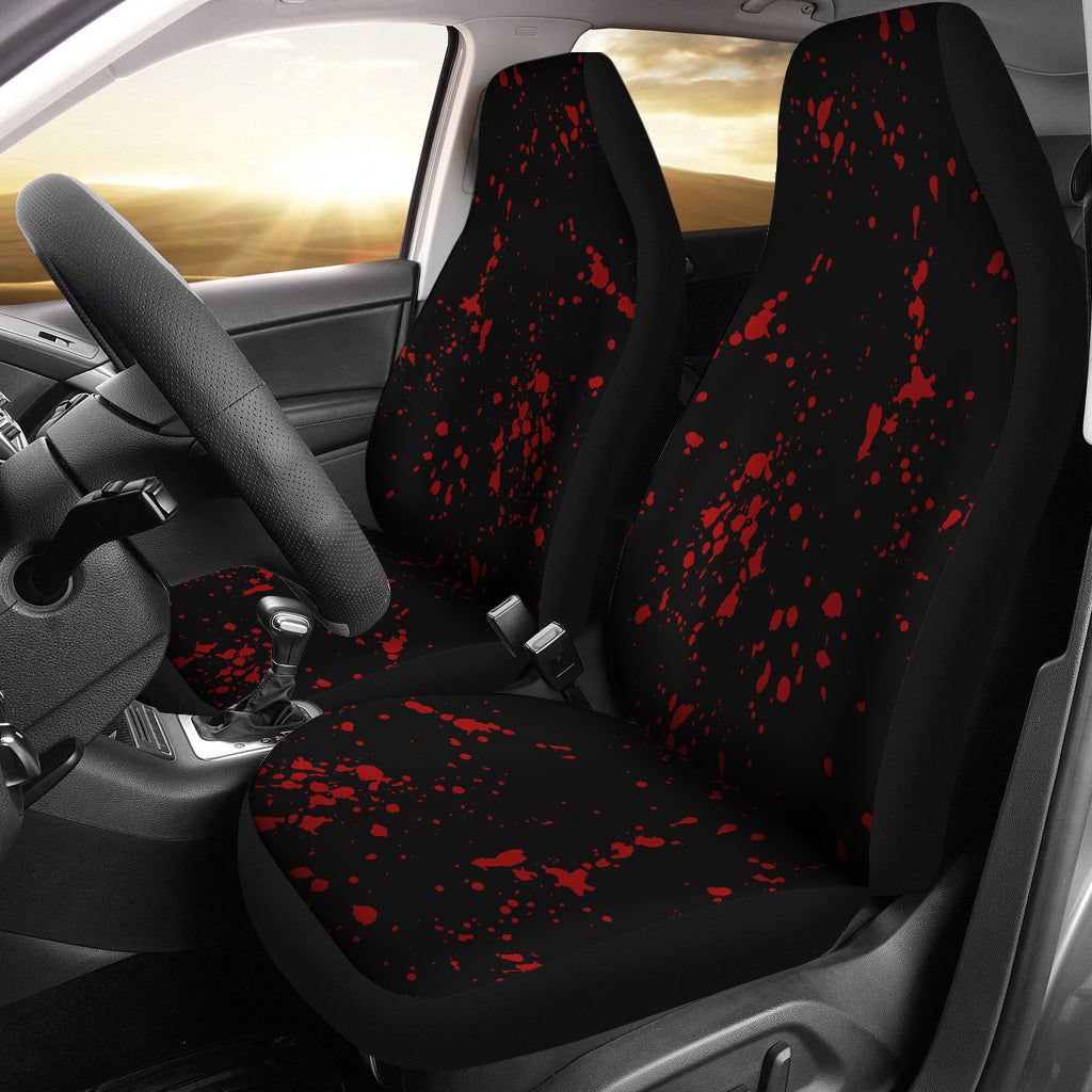 Black With Red Blood Spatter Splatter Pattern Car Seat Covers