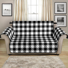 "Load image into Gallery viewer, Black White Buffalo Plaid 54"" Loveseat Sofa Couch Cover Protector Farmhouse Home Decor"