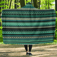 Load image into Gallery viewer, Teal and Black Ethnic Pattern Hooded Blanket