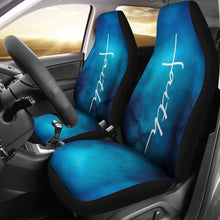 Load image into Gallery viewer, White Faith Word Cross On Blue Ombre Car Seat Covers Religious Christian Themed