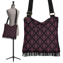 Load image into Gallery viewer, Black With Pink Magenta Damask Pattern Fringe Boho Bag Crossbody Purse