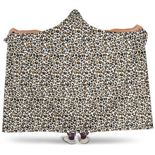 Load image into Gallery viewer, White Leopard Hooded Blanket Animal Print With Sherpa Lining