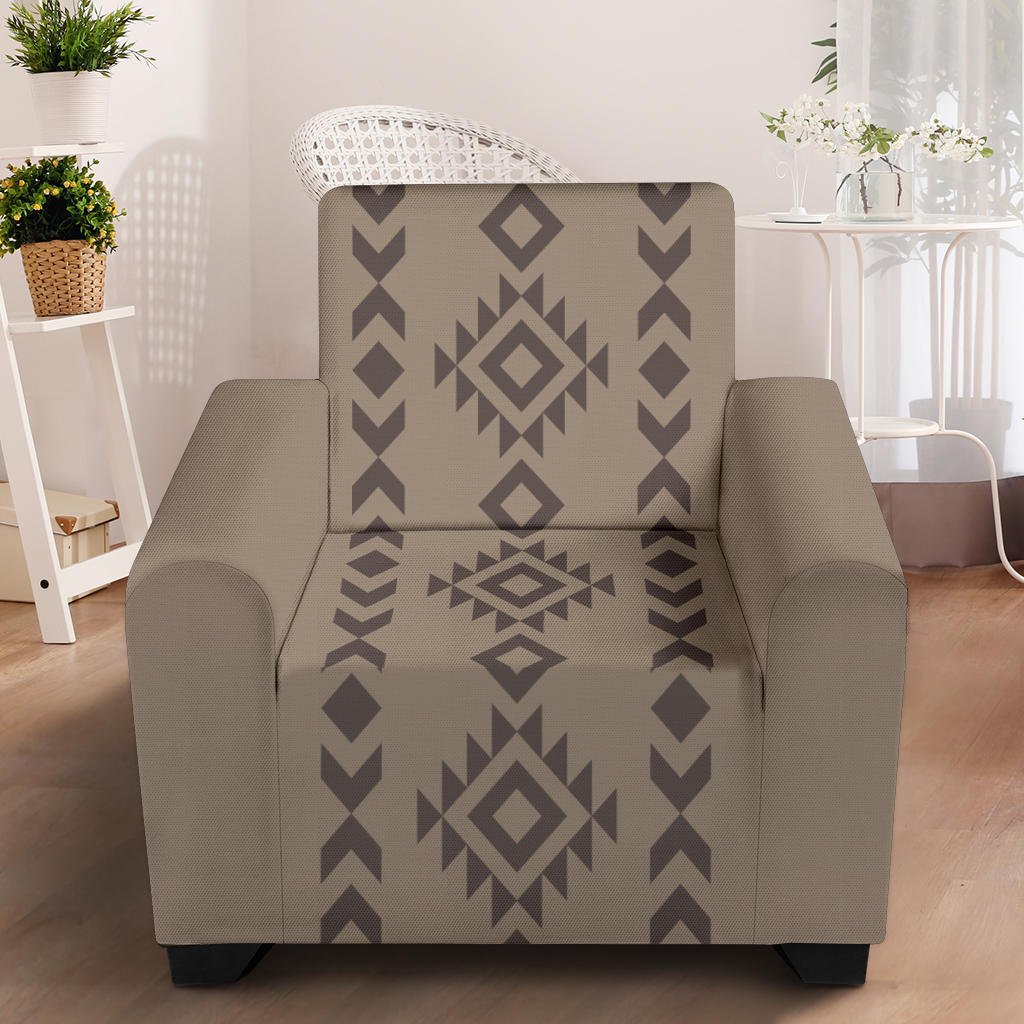 Light and Dark Brown Tribal Ethic Pattern Stretch Armchair Cover With Elastic Edge Fits Up To 43