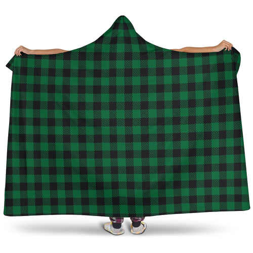 Green Buffalo Plaid Hooded Blanket With Sherpa Lining