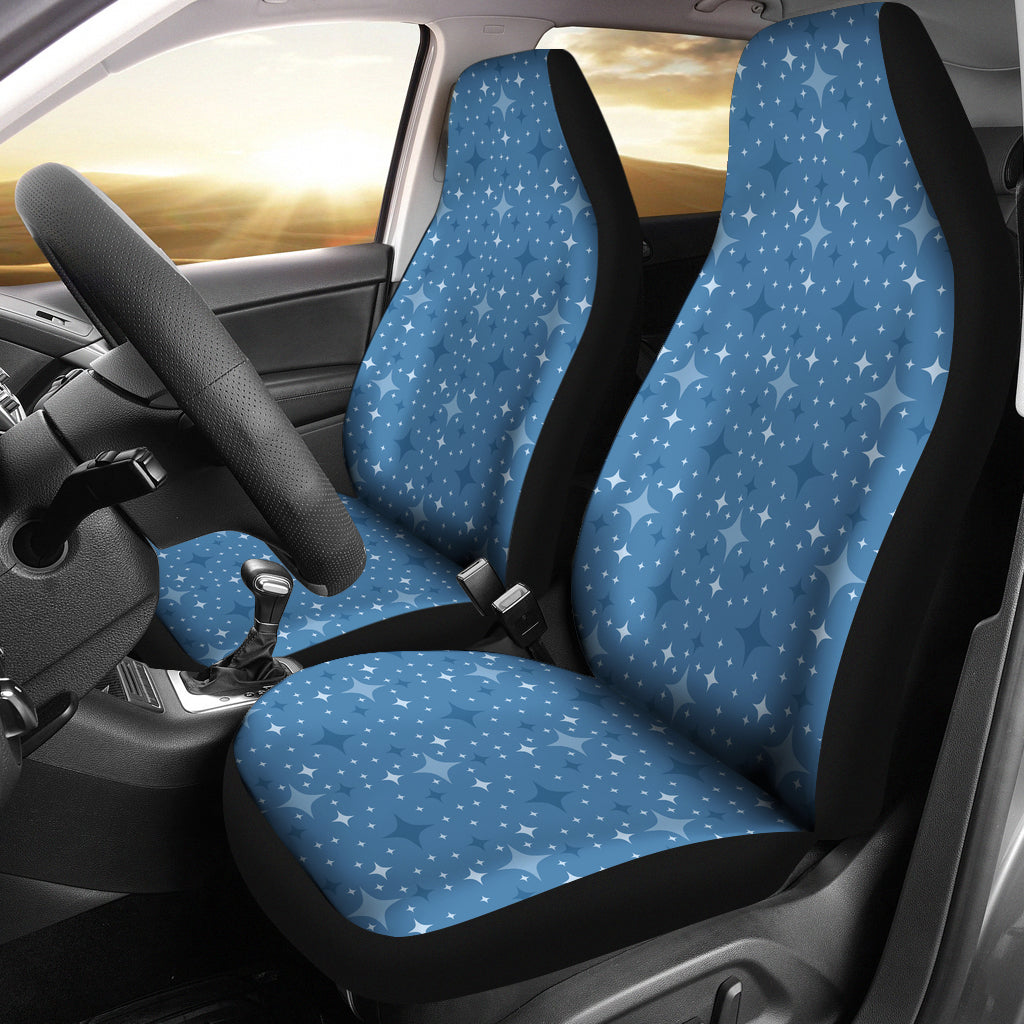 Blue With Retro Stars Pattern Car Seat Covers