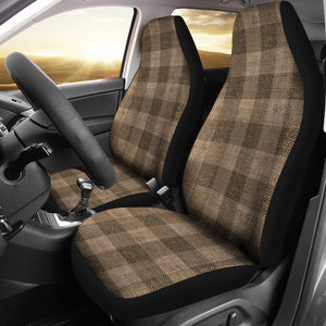 Dark Burlap Buffalo Plaid Car Seat Covers Seat Protectors Rustic Farmhouse