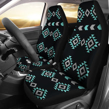 Load image into Gallery viewer, Turquoise, Gray and Black Ethnic Boho Tribal Pattern Car Seat Covers