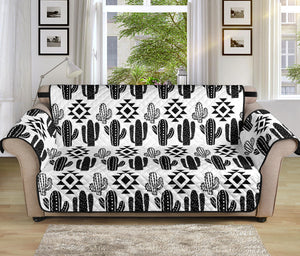 "Black and White Cactus Boho Pattern on Sofa Slipcover For Up to 70"" Seat Width Couches"