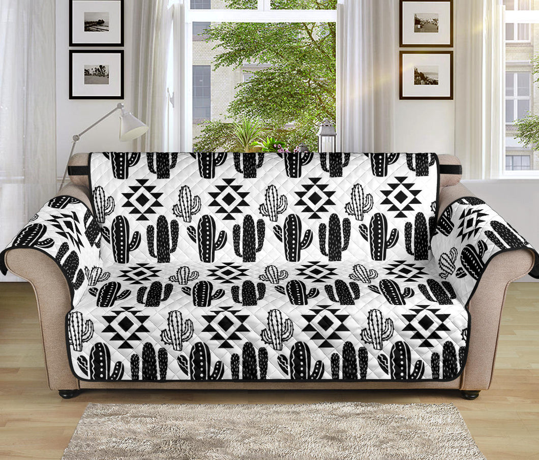 Black and White Cactus Boho Pattern on Sofa Slipcover For Up to 70