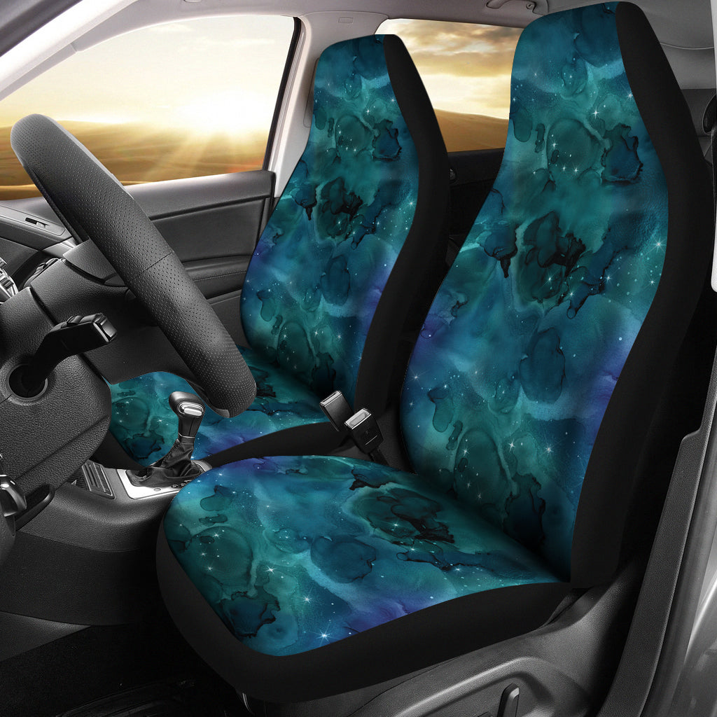 Teal Blue Sky Galaxy Nebula Pattern Car Seat Covers