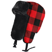 Load image into Gallery viewer, Red and Black Buffalo Plaid Trapper Hat With Faux Fur Lining