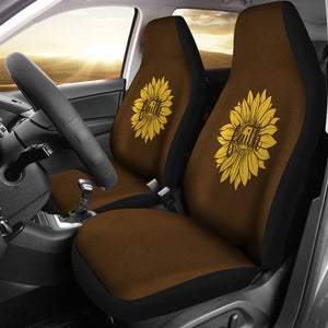 Faith Sunflower on Dark Brown Faux Suede Background Car Seat Covers
