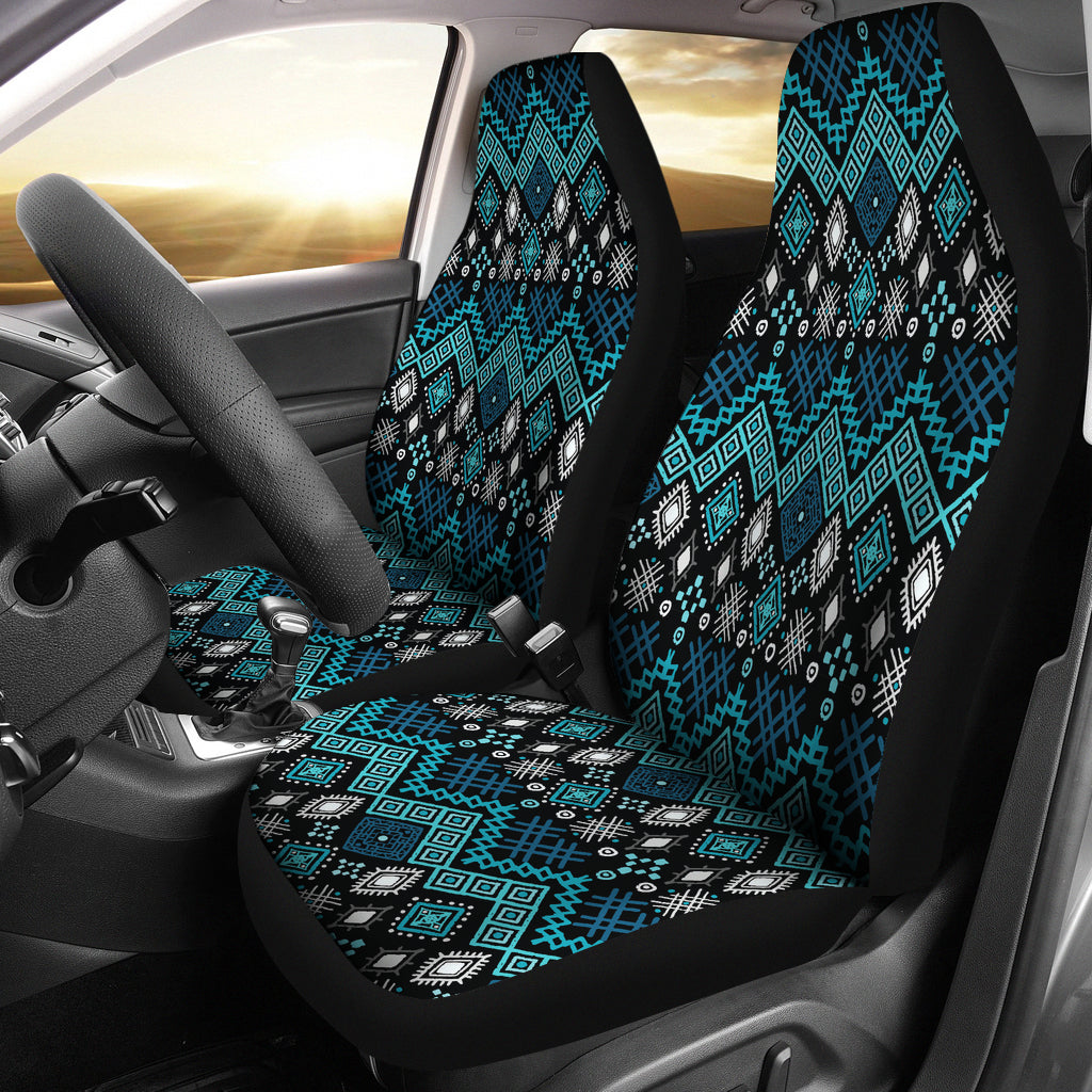 Blue Ethnic Pattern Car Seat Covers Front Set Of 2