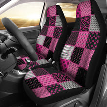 Load image into Gallery viewer, Pink and Black Shabby Chic Patchwork Quilt Style Car Seat Covers