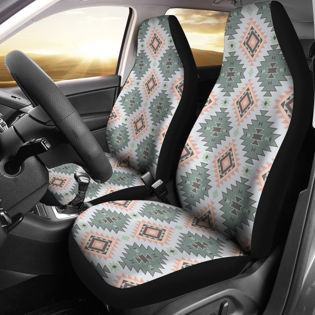 Pastel Green, Blue and Peach Southwestern Pattern Car Seat Covers Aztec Ethnic