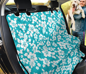 Teal and White Hibiscus Hawaiian Flower Pattern Waterproof Back Seat Protector Cover for Dogs