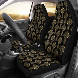 Celtic Cross Black and Gold Colored Car Seat Covers Seat Protectors