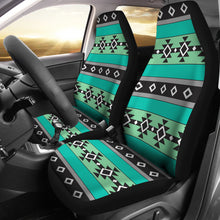 Load image into Gallery viewer, Green, Blue and Gray Abstract Aztec Ethnic Pattern Boho Car Seat Covers