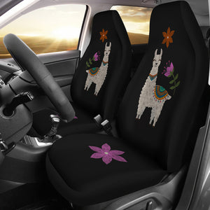 Llama Seat Covers Chalky Style Black Flowers Car Seat Covers