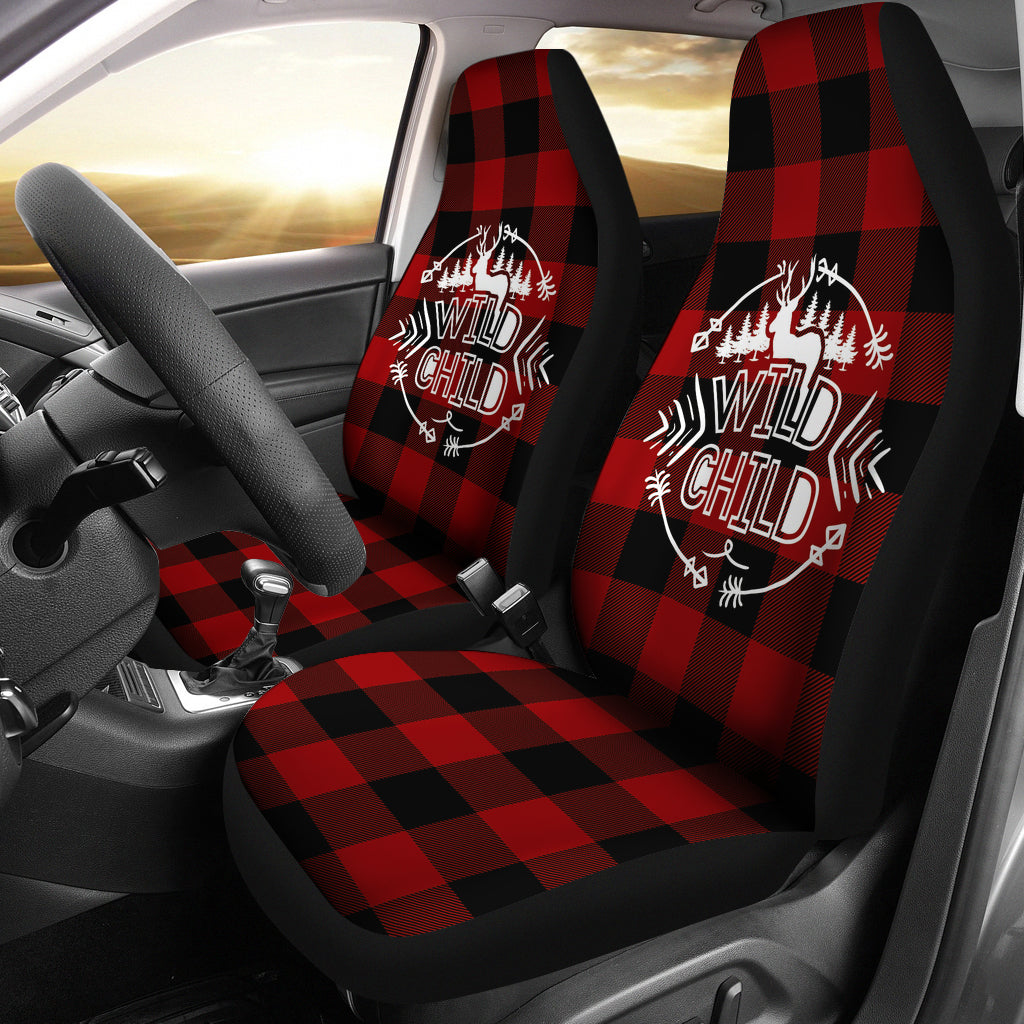 Wild Child on Buffalo Plaid Car Seat Covers