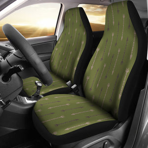 Olive Green With Boho Arrows Pattern Car Seat Covers Set