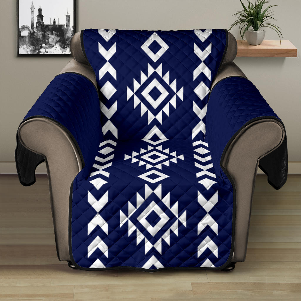 Navy and White Ethnic Tribal Design Recliner Slipcover Protector Fits Up To 28