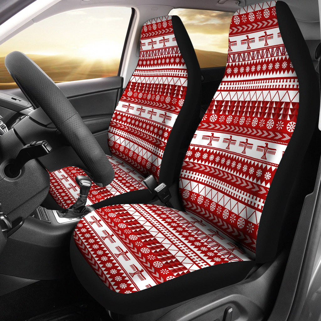 Red and White Thunderbird Pattern Car Seat Covers Native American Ethnic Mexican Inspired
