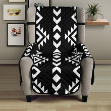 "Load image into Gallery viewer, Black With White Ethnic Tribal Pattern on 23"" Armchair Sofa Protector Slipcover"