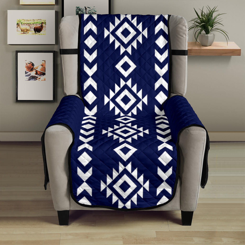 Navy White Tribal Ethnic Armchair Slipcover Protector For Up To 23
