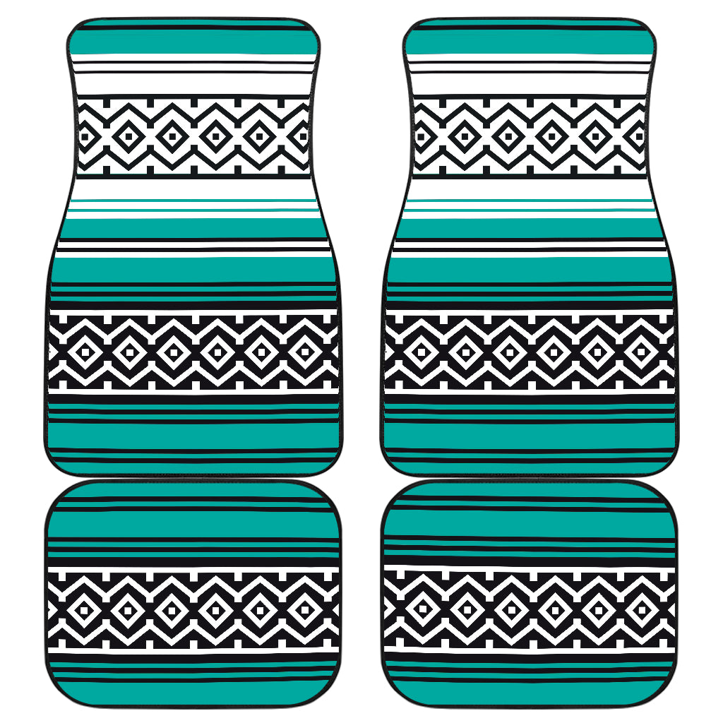 Turquoise Mexican Serape Inspired Floor Mats Set of 4