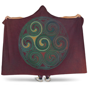 Celtic Spiral Design Hooded Sherpa Lined Blanket