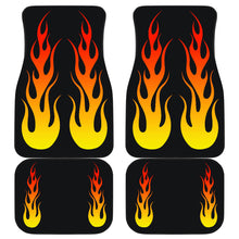 Load image into Gallery viewer, Flames on Black Car Floor Mats Set of 4 Front and Back