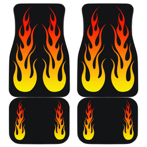 Flames on Black Car Floor Mats Set of 4 Front and Back