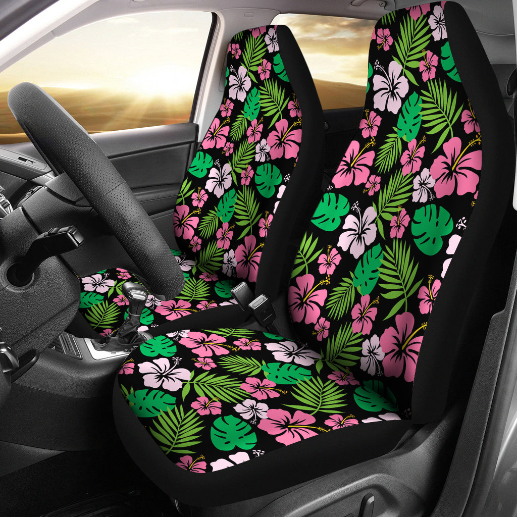 Hibiscus Flower Car Seat Covers Hawaiian Pattern In Pink, Green and Black Set of 2