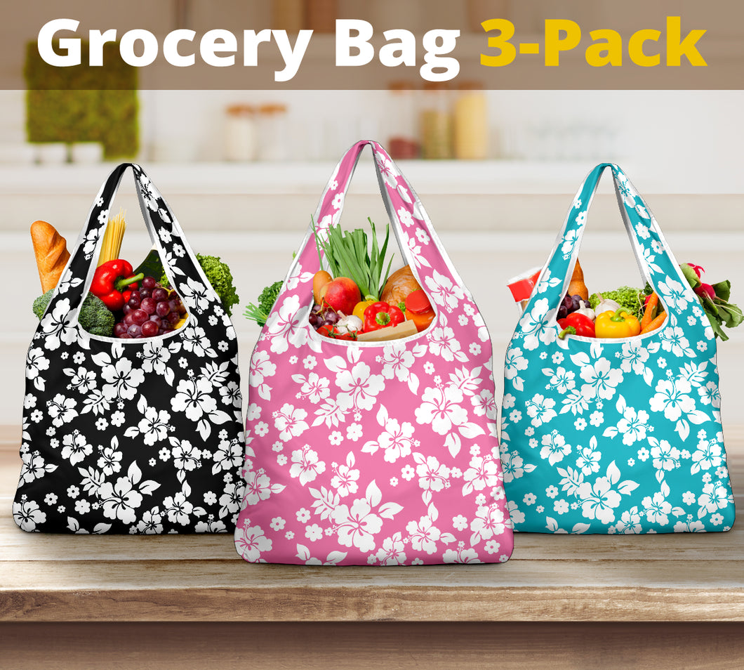 Hibiscus Hawaiian Flower Pattern Reusable Grocery Shopping Bags Pack Of 3