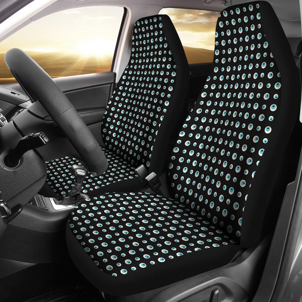 Black With Blue Eyeballs Pattern Car Seat Covers