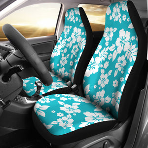 Teal and Large White Hawaiian Hibiscus Flowers Seat Covers