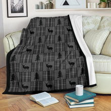 Load image into Gallery viewer, Gray and Black Plaid With Buck and Pine Trees Rustic Patchwork Pattern Fleece Throw Blanket