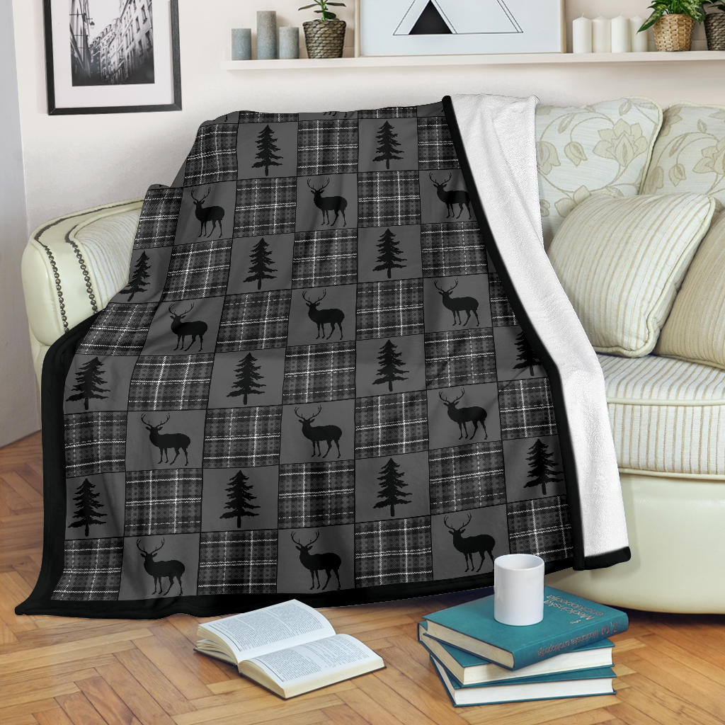 Gray and Black Plaid With Buck and Pine Trees Rustic Patchwork Pattern Fleece Throw Blanket