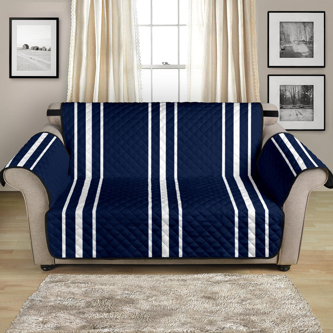 Navy Blue With White Stripes Loveseat Sofa Protector Slipcover For Up To 54