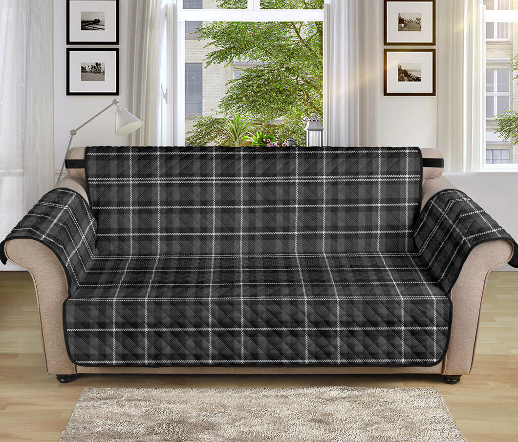 Gray, Black and White Plaid Couch Protector Slipcover For 70