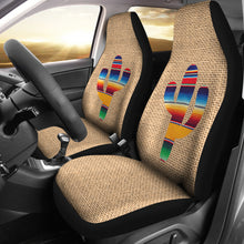 Load image into Gallery viewer, Faux Burlap Car Seat Covers Set With Colorful Serape Cactus Design