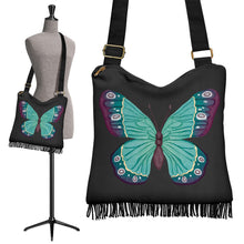 Load image into Gallery viewer, Watercolor Green and Purple Butterfly Boho Bag With Fringe