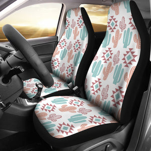 Pastel Rose and Turquoise Cactus Boho Cactus Pattern Car Seat Covers Set