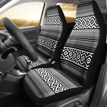 Load image into Gallery viewer, Gray Black and White Mexican Serape Inspired Car Seat Covers