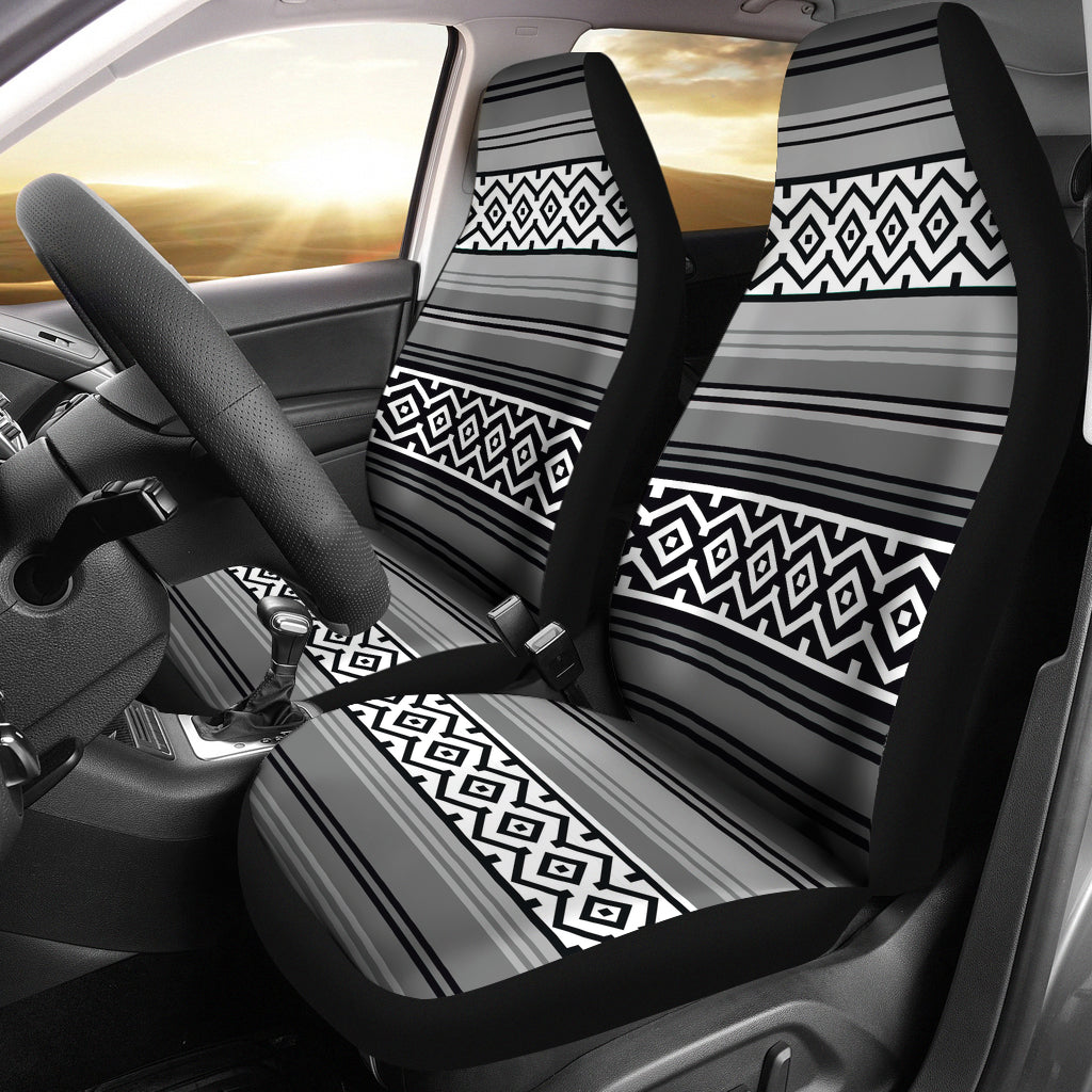 Gray Black and White Mexican Serape Inspired Car Seat Covers