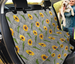 Gray Burlap With Sunflower Pattern Back Seat Cover Protector