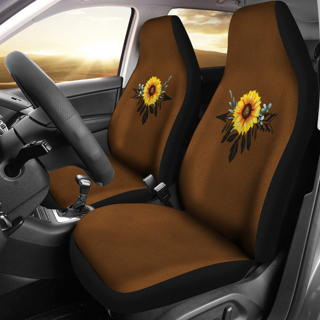 Sunflower Dreamcatcher on Dark Colored Suede Texture Background Seat Protectors