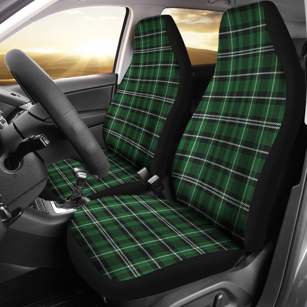 Green White and Black Plaid Car Seat Covers