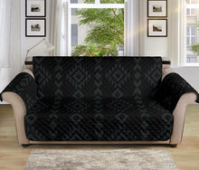 "Load image into Gallery viewer, Black With Gray Ethnic Tribal Pattern 70"" Seat Width Sofa Protector Slipcover"